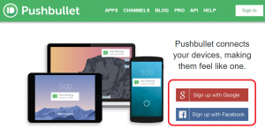 Pushbullet sign up